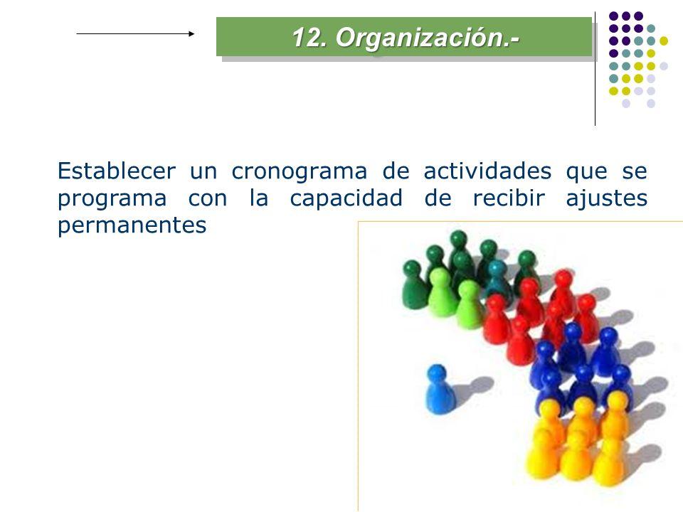 12. Organización.- Establecer un cronograma de actividades que se programa con la capacidad de recibir ajustes permanentes
