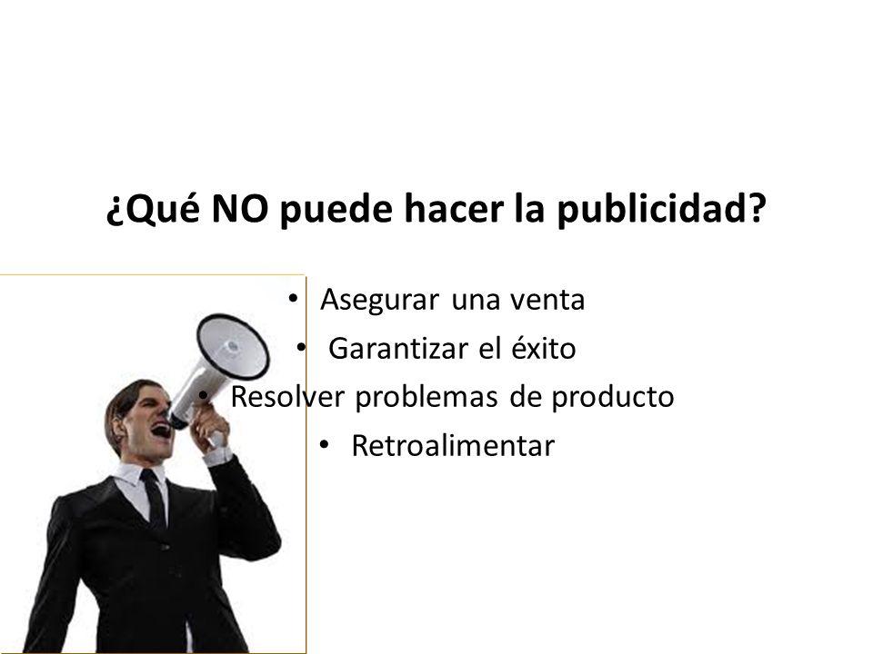¿Qué NO puede hacer la publicidad? Asegurar una venta Garantizar el éxito Resolver problemas de producto Retroalimentar