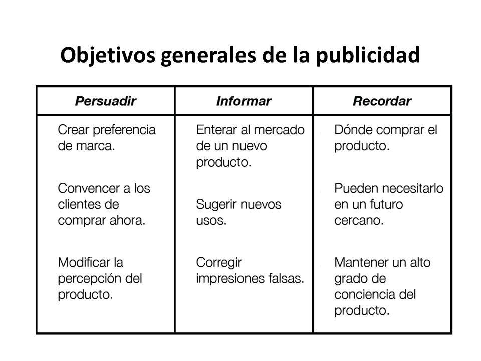 Objetivos generales de la publicidad Crear preferencia de