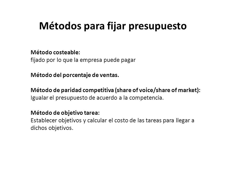 Métodos para fijar presupuesto Método costeable: fijado por lo que la empresa puede pagar Método del porcentaje de ventas. Método de paridad competiti