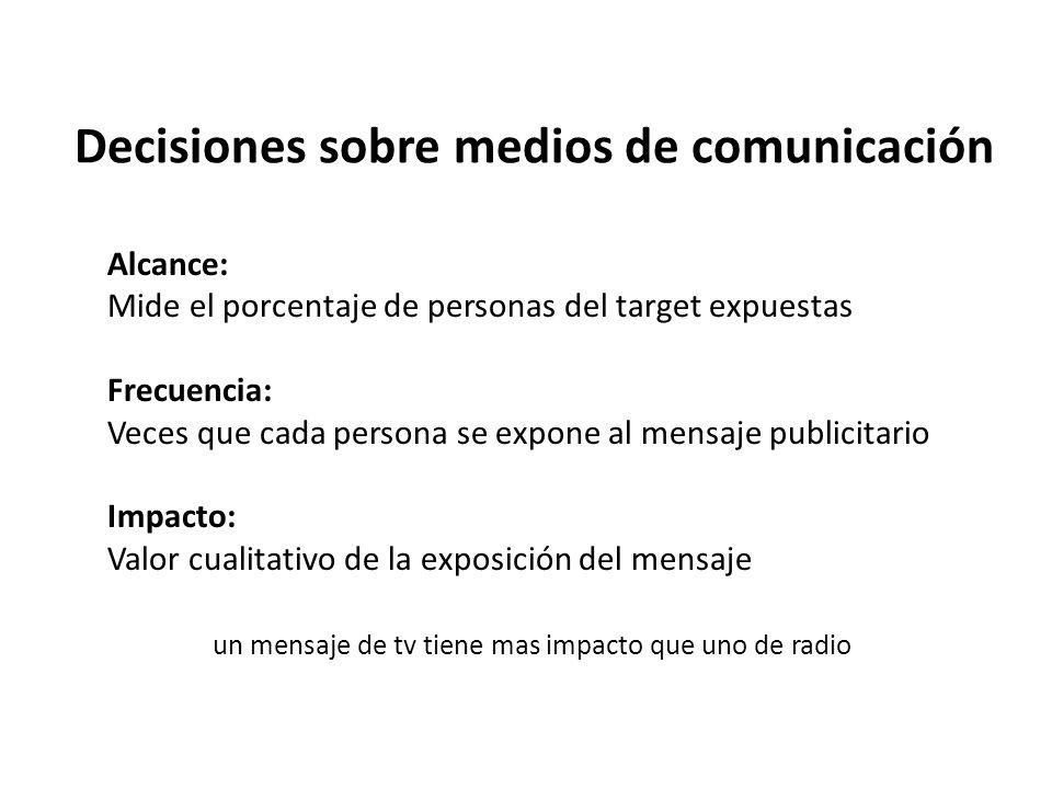 Decisiones sobre medios de comunicación Alcance: Mide el porcentaje de personas del target expuestas Frecuencia: Veces que cada persona se expone al m