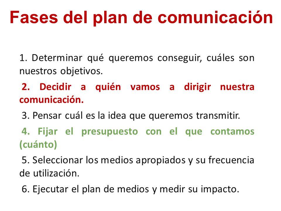 1. Determinar qué queremos conseguir, cuáles son nuestros objetivos. 2. Decidir a quién vamos a dirigir nuestra comunicación. 3. Pensar cuál es la ide