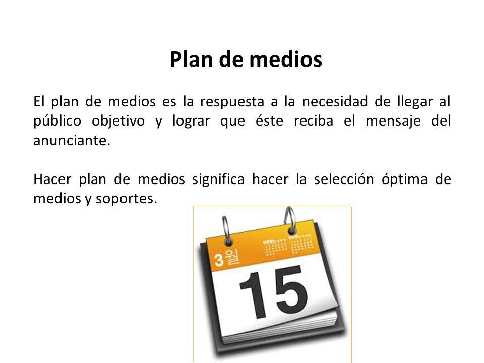 Plan de medios El plan de medios es la respuesta a la necesidad de llegar al público objetivo y lograr que éste reciba el mensaje del anunciante. Hace