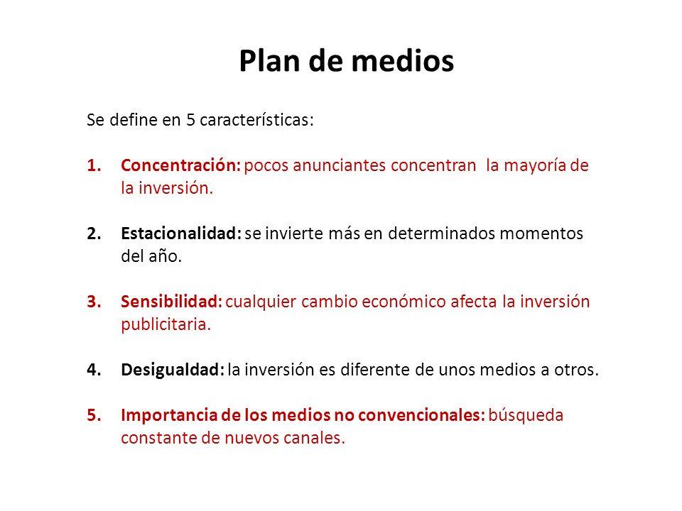 Plan de medios Se define en 5 características: 1.Concentración: pocos anunciantes concentran la mayoría de la inversión. 2.Estacionalidad: se invierte