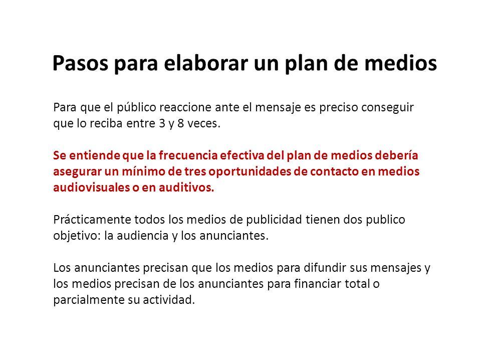 Pasos para elaborar un plan de medios Para que el público reaccione ante el mensaje es preciso conseguir que lo reciba entre 3 y 8 veces. Se entiende