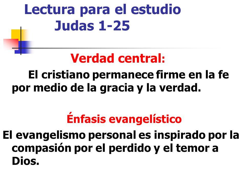 Lectura para el estudio Judas 1-25 Verdad central : El cristiano permanece firme en la fe por medio de la gracia y la verdad.