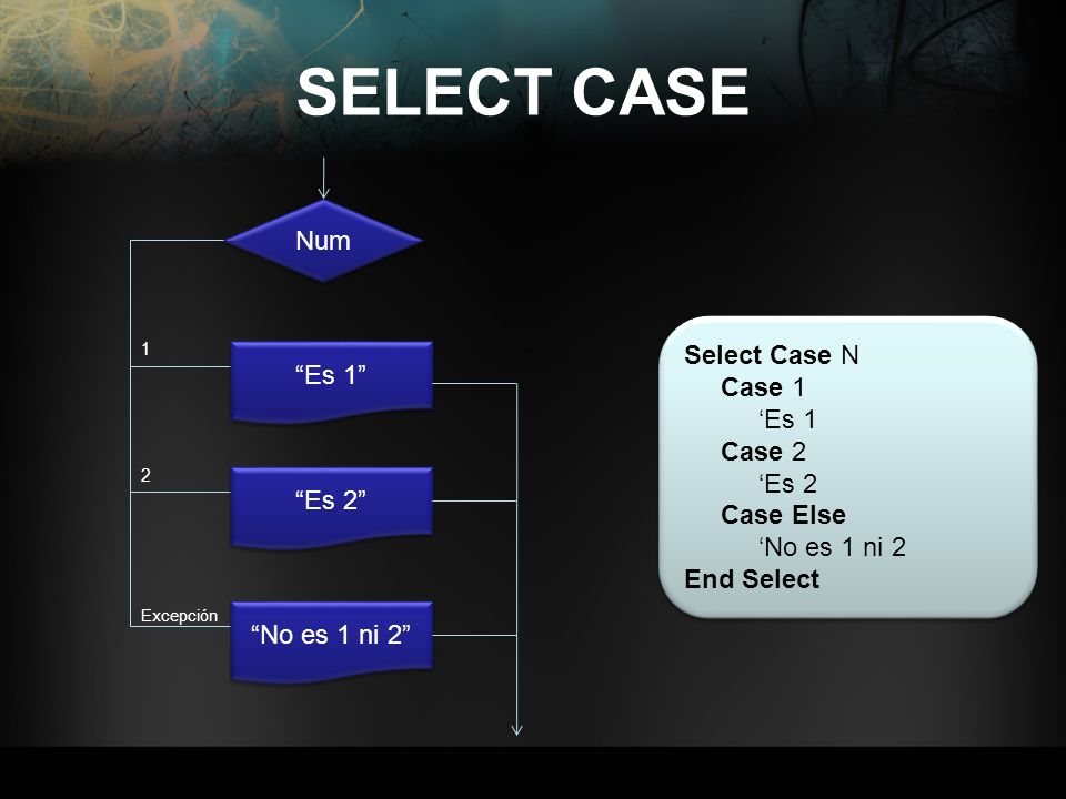 SELECT CASE Num Es 1 1 Es 2 2 No es 1 ni 2 Excepción Select Case N Case 1 Es 1 Case 2 Es 2 Case Else No es 1 ni 2 End Select Select Case N Case 1 Es 1