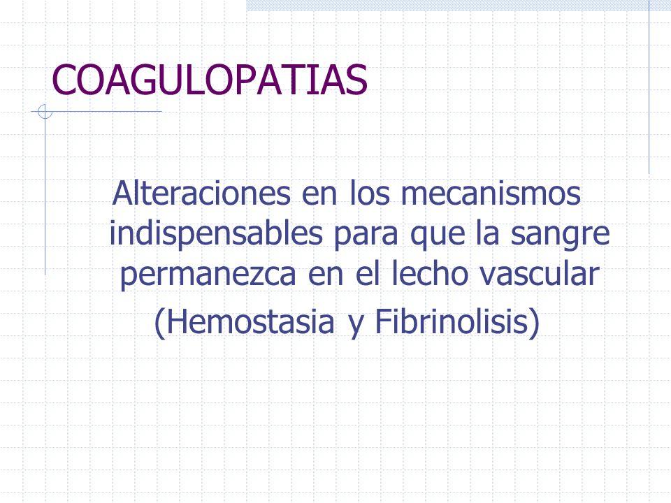 COAGULOPATIAS Alteraciones en los mecanismos indispensables para que la sangre permanezca en el lecho vascular (Hemostasia y Fibrinolisis)