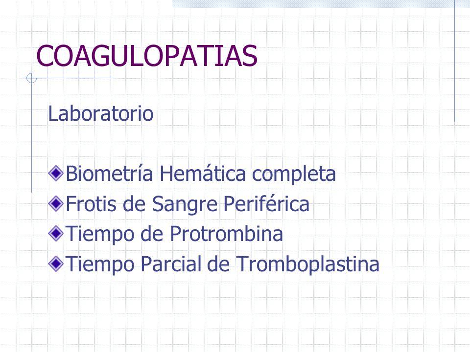 COAGULOPATIAS Laboratorio Biometría Hemática completa Frotis de Sangre Periférica Tiempo de Protrombina Tiempo Parcial de Tromboplastina