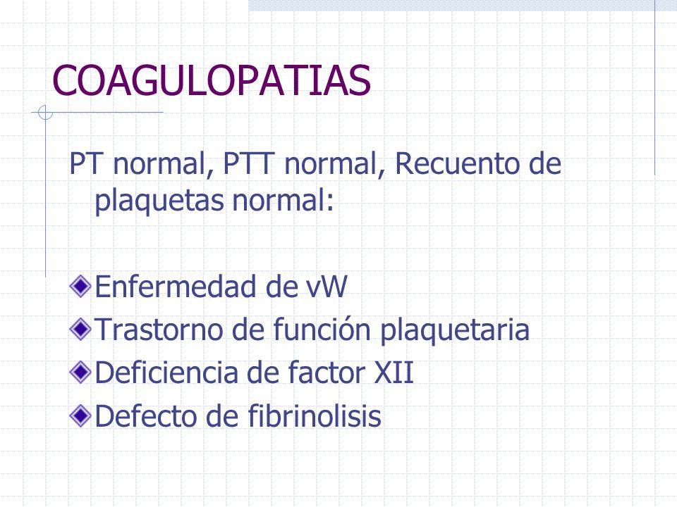 COAGULOPATIAS PT normal, PTT normal, Recuento de plaquetas normal: Enfermedad de vW Trastorno de función plaquetaria Deficiencia de factor XII Defecto