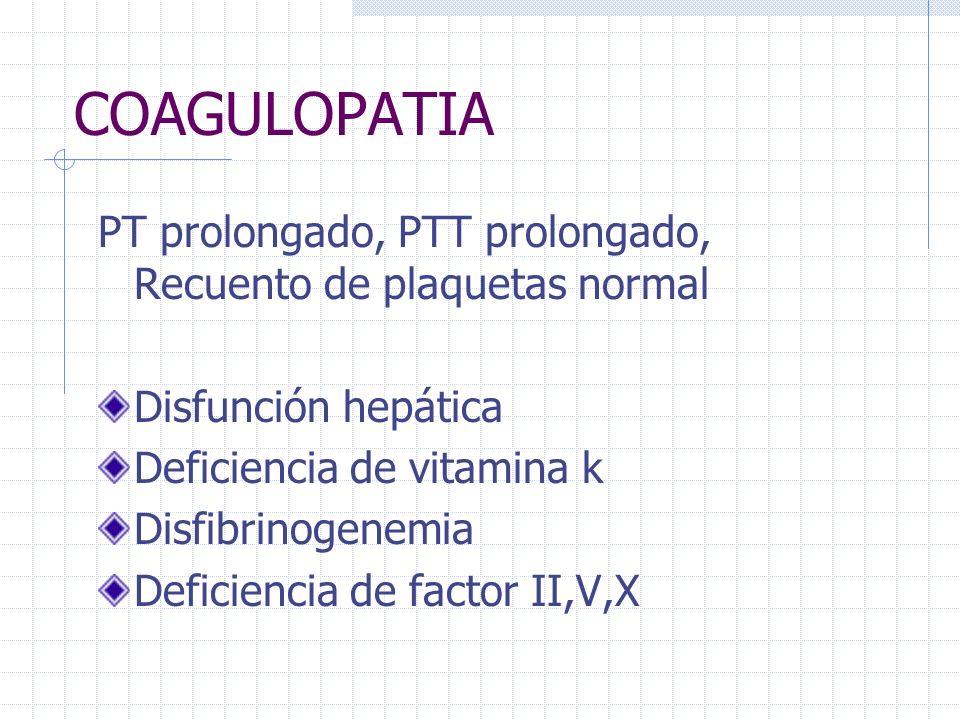 COAGULOPATIA PT prolongado, PTT prolongado, Recuento de plaquetas normal Disfunción hepática Deficiencia de vitamina k Disfibrinogenemia Deficiencia d