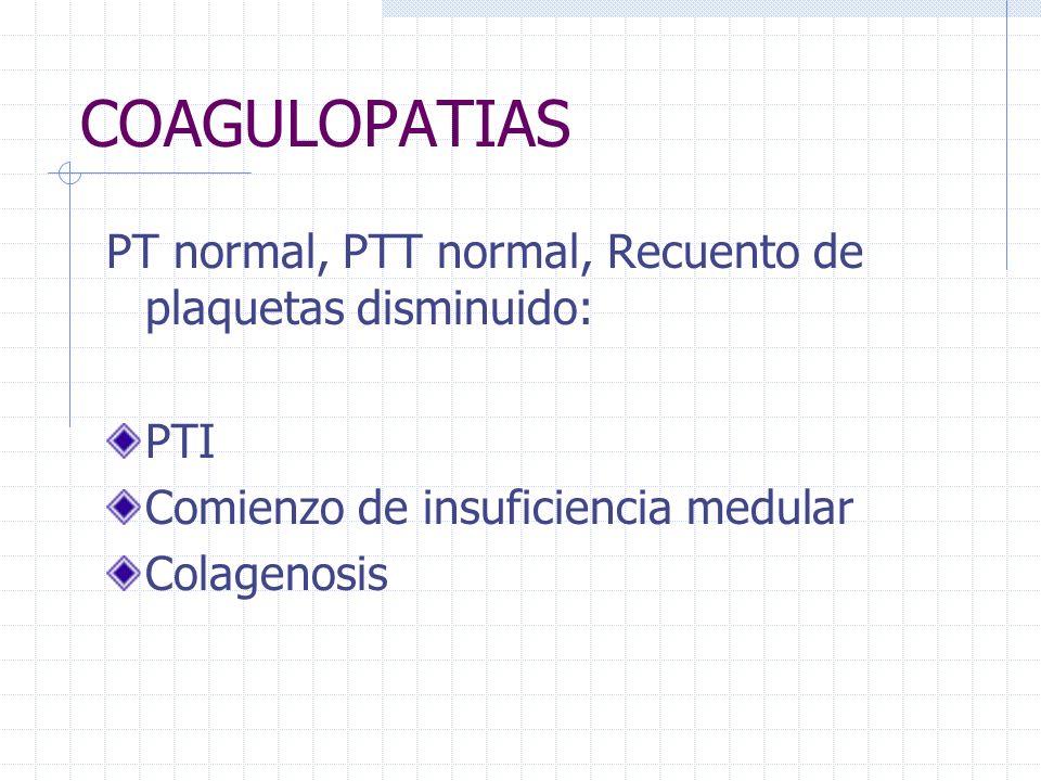COAGULOPATIAS PT normal, PTT normal, Recuento de plaquetas disminuido: PTI Comienzo de insuficiencia medular Colagenosis