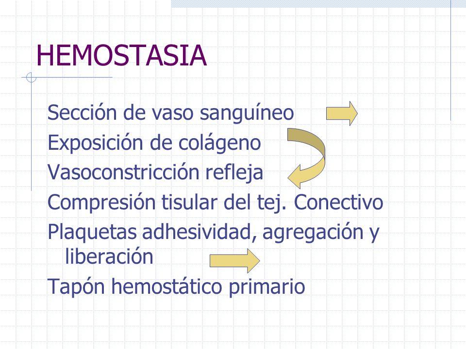 HEMOSTASIA Sección de vaso sanguíneo Exposición de colágeno Vasoconstricción refleja Compresión tisular del tej. Conectivo Plaquetas adhesividad, agre