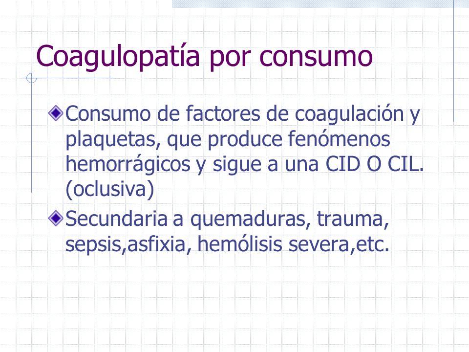 Coagulopatía por consumo Consumo de factores de coagulación y plaquetas, que produce fenómenos hemorrágicos y sigue a una CID O CIL. (oclusiva) Secund