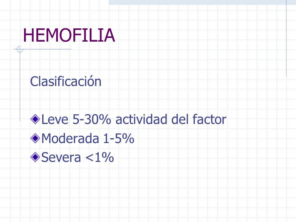 HEMOFILIA Clasificación Leve 5-30% actividad del factor Moderada 1-5% Severa <1%
