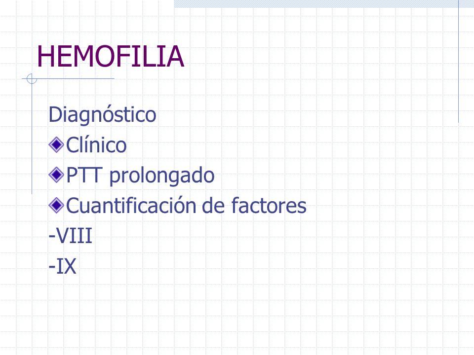 HEMOFILIA Diagnóstico Clínico PTT prolongado Cuantificación de factores -VIII -IX