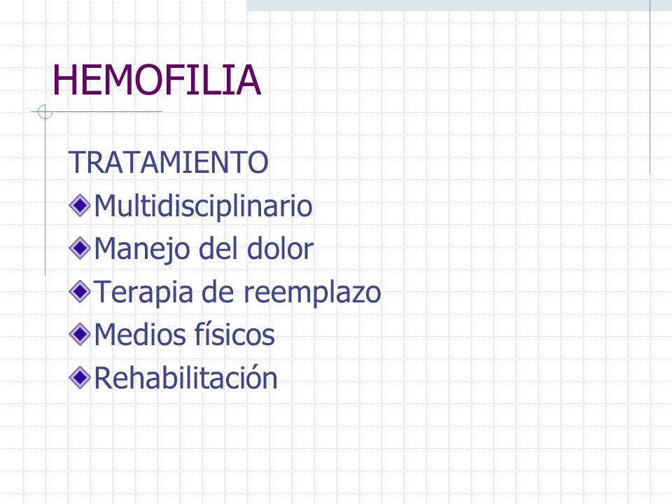 HEMOFILIA TRATAMIENTO Multidisciplinario Manejo del dolor Terapia de reemplazo Medios físicos Rehabilitación