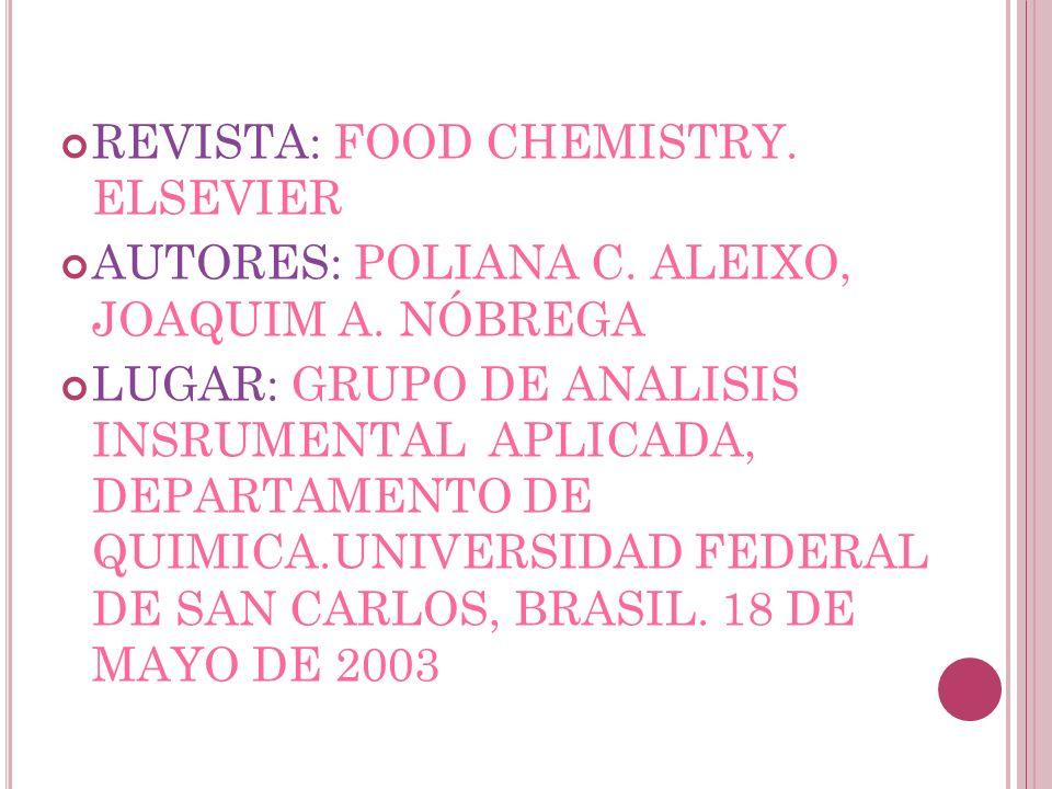 REVISTA: FOOD CHEMISTRY. ELSEVIER AUTORES: POLIANA C. ALEIXO, JOAQUIM A. NÓBREGA LUGAR: GRUPO DE ANALISIS INSRUMENTAL APLICADA, DEPARTAMENTO DE QUIMIC