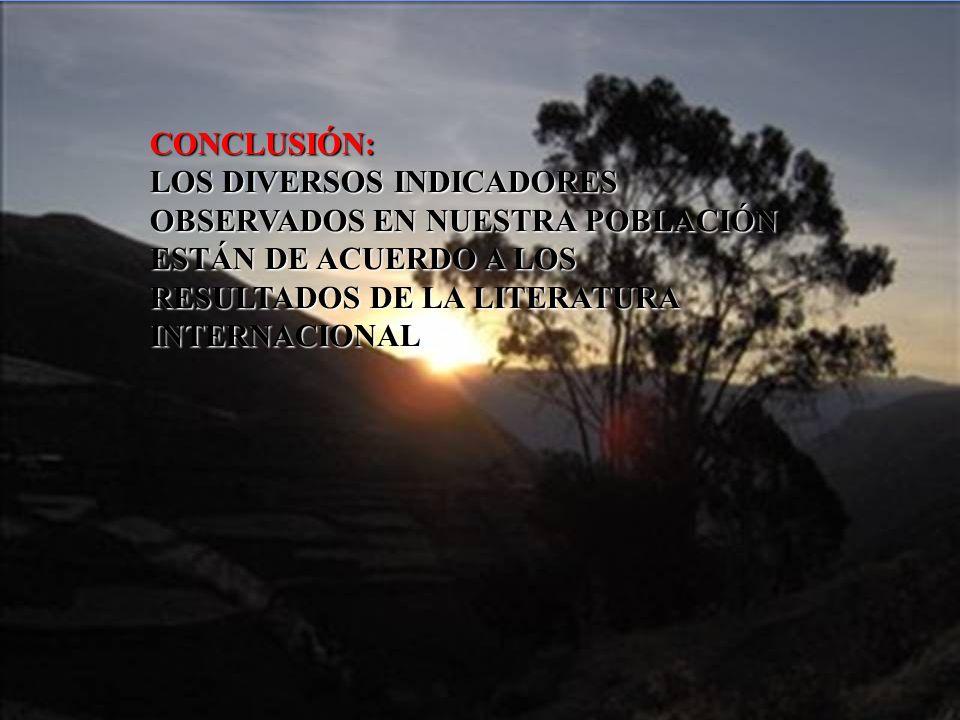 CONCLUSIÓN: LOS DIVERSOS INDICADORES OBSERVADOS EN NUESTRA POBLACIÓN ESTÁN DE ACUERDO A LOS RESULTADOS DE LA LITERATURA INTERNACIONAL