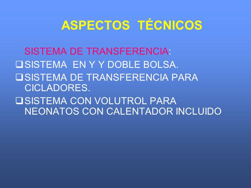 ASPECTOS TÉCNICOS SISTEMA DE TRANSFERENCIA: SISTEMA EN Y Y DOBLE BOLSA. SISTEMA DE TRANSFERENCIA PARA CICLADORES. SISTEMA CON VOLUTROL PARA NEONATOS C