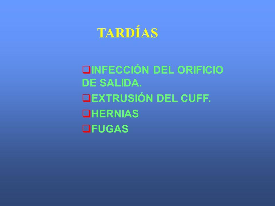 TARDÍAS INFECCIÓN DEL ORIFICIO DE SALIDA. EXTRUSIÓN DEL CUFF. HERNIAS FUGAS