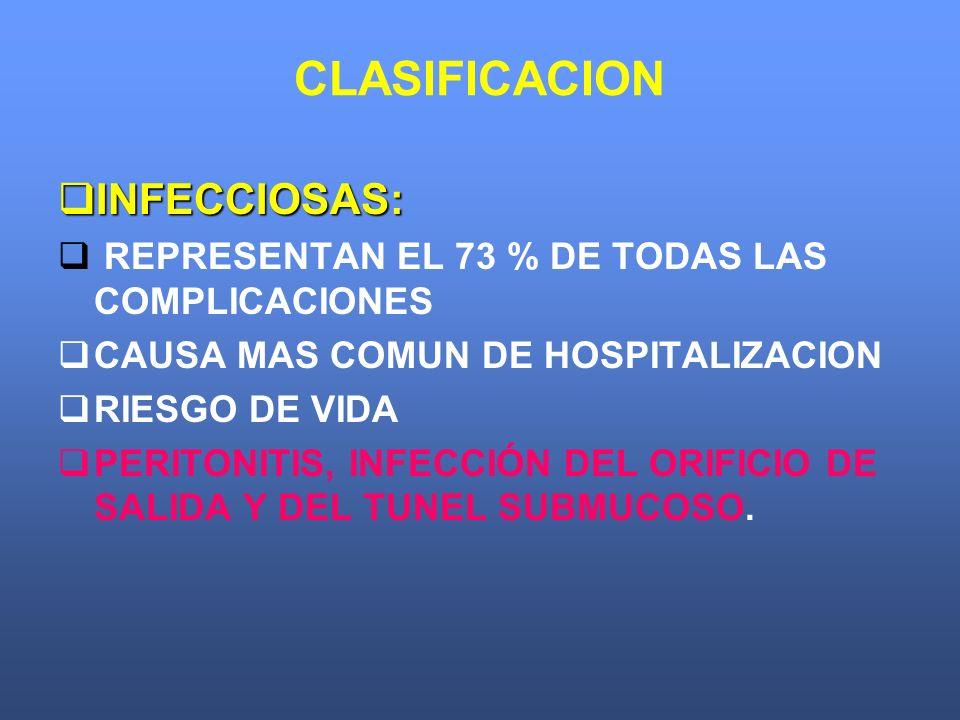 CLASIFICACION INFECCIOSAS: INFECCIOSAS: REPRESENTAN EL 73 % DE TODAS LAS COMPLICACIONES CAUSA MAS COMUN DE HOSPITALIZACION RIESGO DE VIDA PERITONITIS,