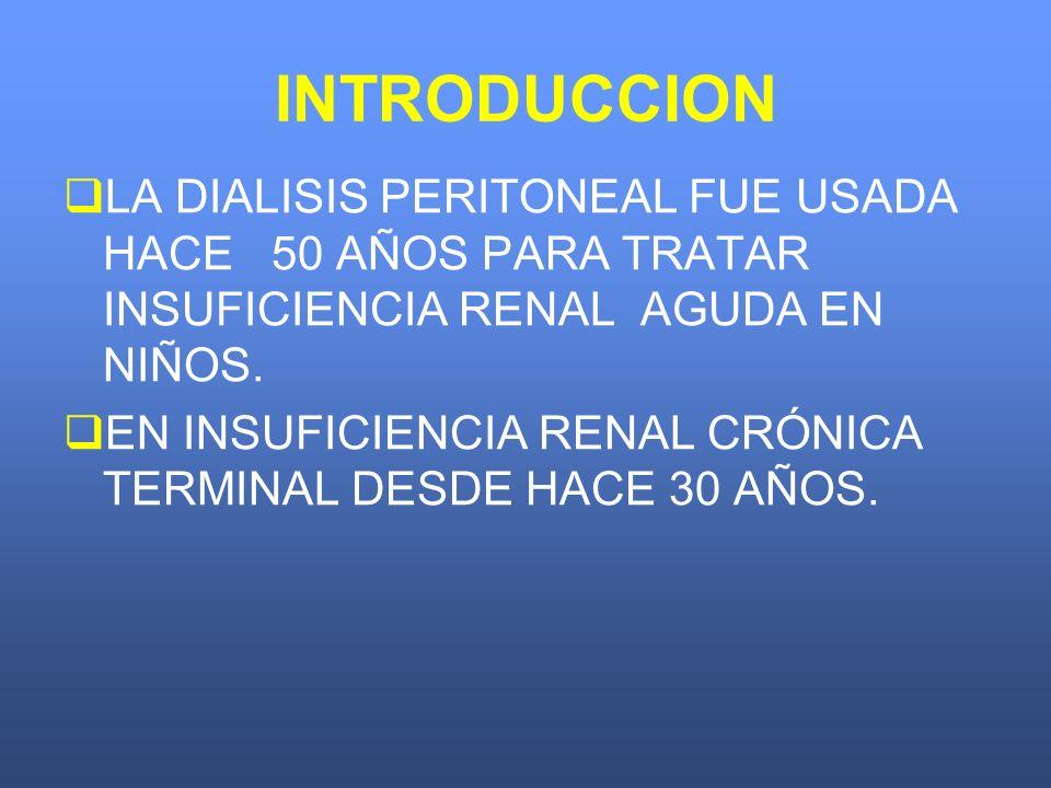 INTRODUCCION LA DIALISIS PERITONEAL FUE USADA HACE 50 AÑOS PARA TRATAR INSUFICIENCIA RENAL AGUDA EN NIÑOS. EN INSUFICIENCIA RENAL CRÓNICA TERMINAL DES