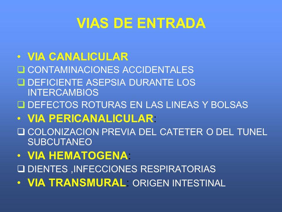 VIAS DE ENTRADA VIA CANALICULAR CONTAMINACIONES ACCIDENTALES DEFICIENTE ASEPSIA DURANTE LOS INTERCAMBIOS DEFECTOS ROTURAS EN LAS LINEAS Y BOLSAS VIA P