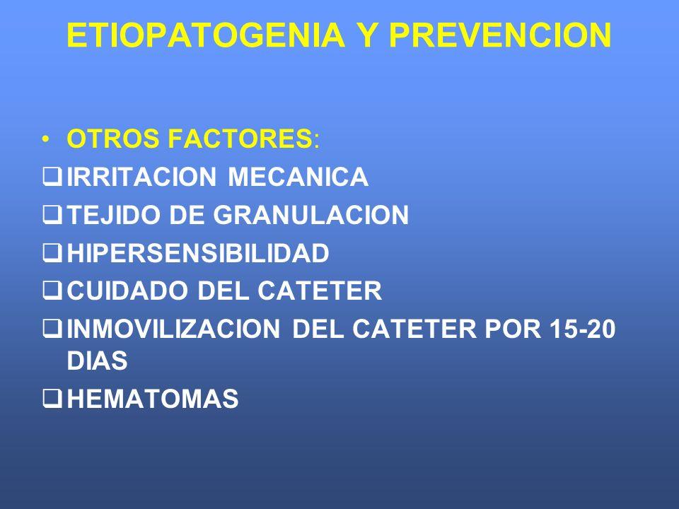 ETIOPATOGENIA Y PREVENCION OTROS FACTORES: IRRITACION MECANICA TEJIDO DE GRANULACION HIPERSENSIBILIDAD CUIDADO DEL CATETER INMOVILIZACION DEL CATETER