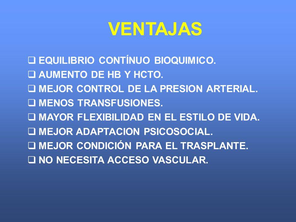 EQUILIBRIO CONTÍNUO BIOQUIMICO. AUMENTO DE HB Y HCTO. MEJOR CONTROL DE LA PRESION ARTERIAL. MENOS TRANSFUSIONES. MAYOR FLEXIBILIDAD EN EL ESTILO DE VI