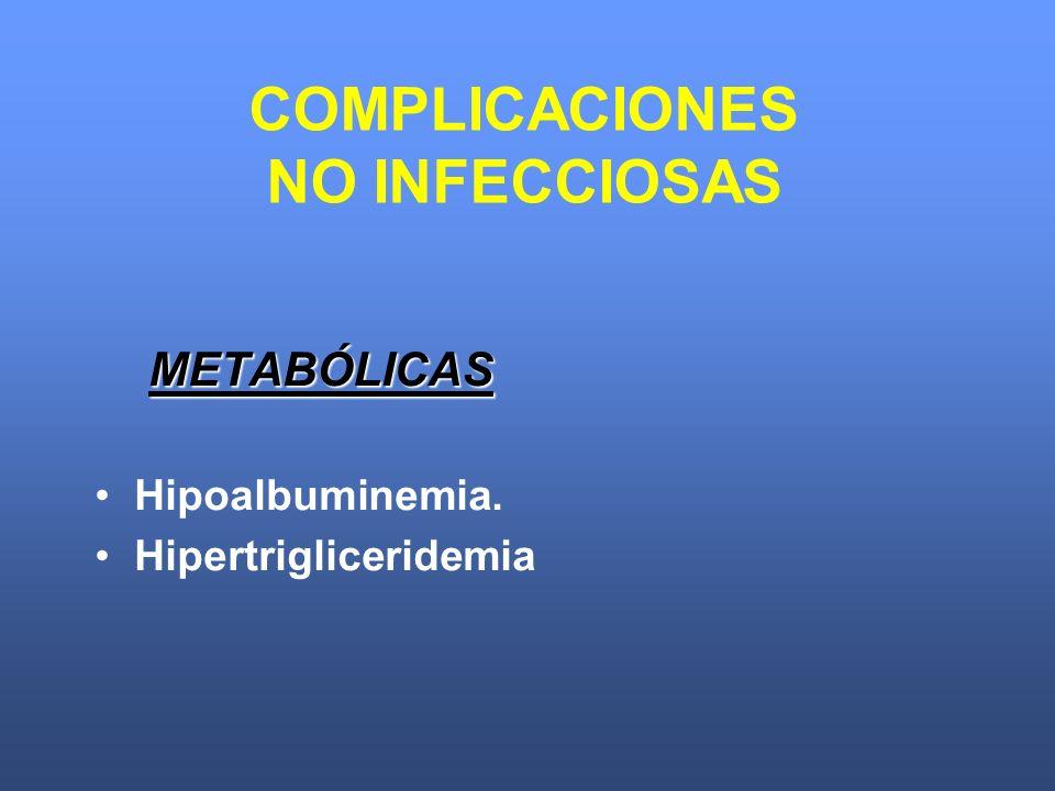 METABÓLICAS Hipoalbuminemia. Hipertrigliceridemia COMPLICACIONES NO INFECCIOSAS
