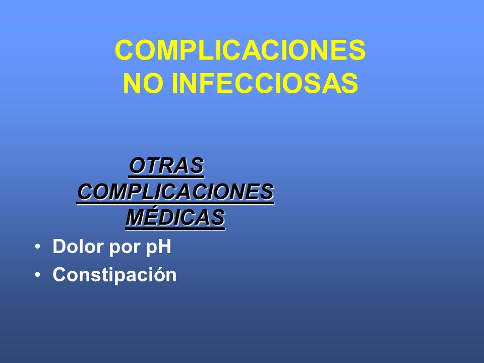 OTRAS COMPLICACIONES MÉDICAS Dolor por pH Constipación COMPLICACIONES NO INFECCIOSAS