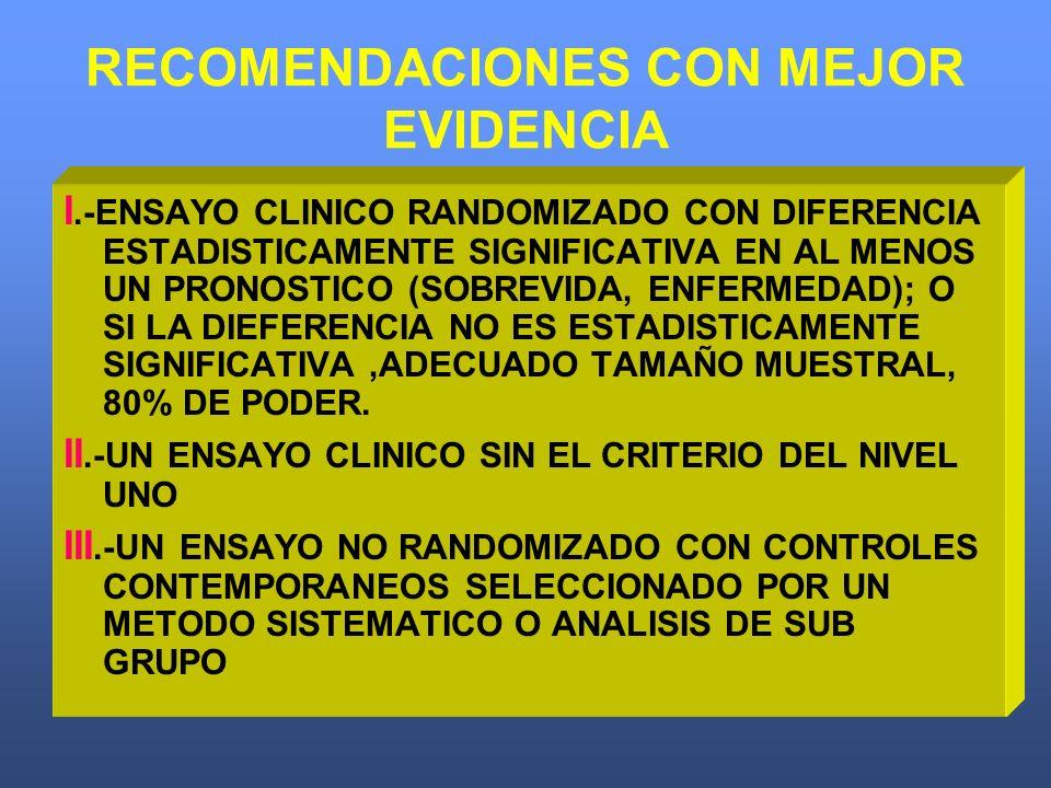 RECOMENDACIONES CON MEJOR EVIDENCIA I.-ENSAYO CLINICO RANDOMIZADO CON DIFERENCIA ESTADISTICAMENTE SIGNIFICATIVA EN AL MENOS UN PRONOSTICO (SOBREVIDA,