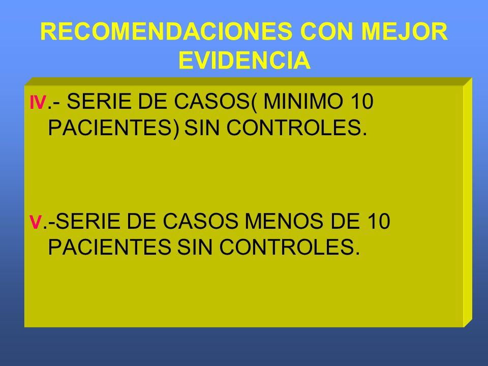 RECOMENDACIONES CON MEJOR EVIDENCIA IV.- SERIE DE CASOS( MINIMO 10 PACIENTES) SIN CONTROLES. V.-SERIE DE CASOS MENOS DE 10 PACIENTES SIN CONTROLES.