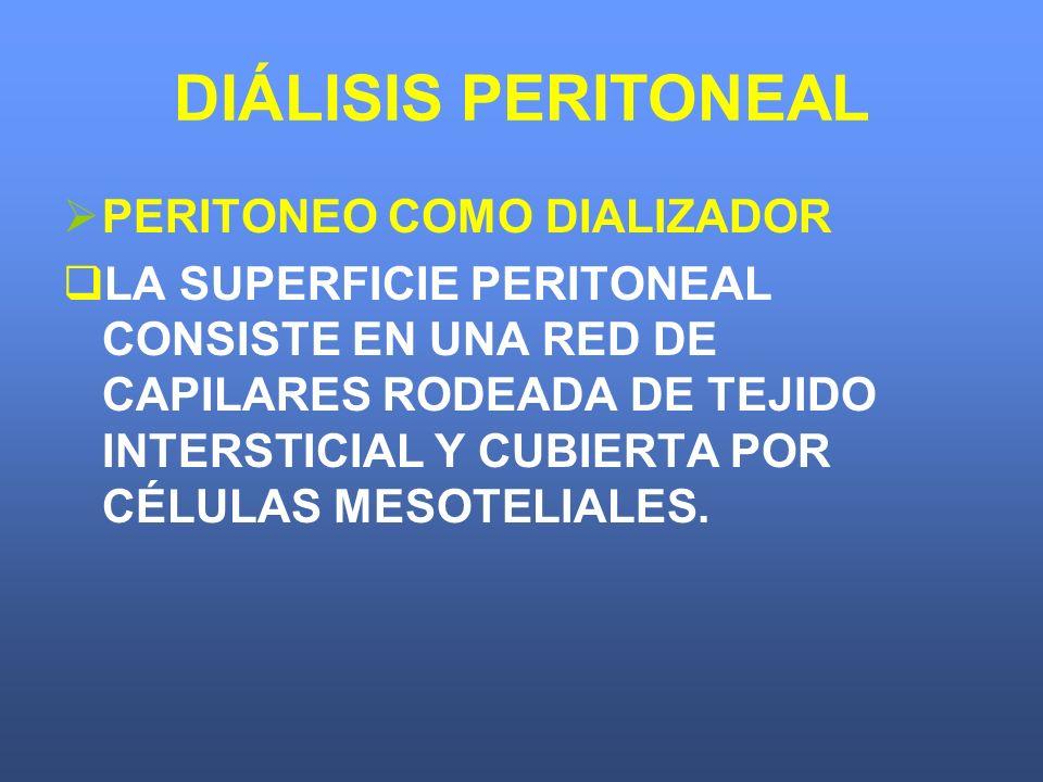 DIÁLISIS PERITONEAL PERITONEO COMO DIALIZADOR LA SUPERFICIE PERITONEAL CONSISTE EN UNA RED DE CAPILARES RODEADA DE TEJIDO INTERSTICIAL Y CUBIERTA POR
