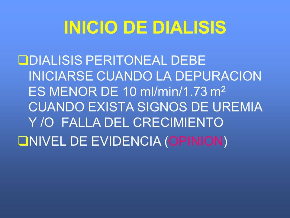 INICIO DE DIALISIS DIALISIS PERITONEAL DEBE INICIARSE CUANDO LA DEPURACION ES MENOR DE 10 ml/min/1.73 m 2 CUANDO EXISTA SIGNOS DE UREMIA Y /O FALLA DE