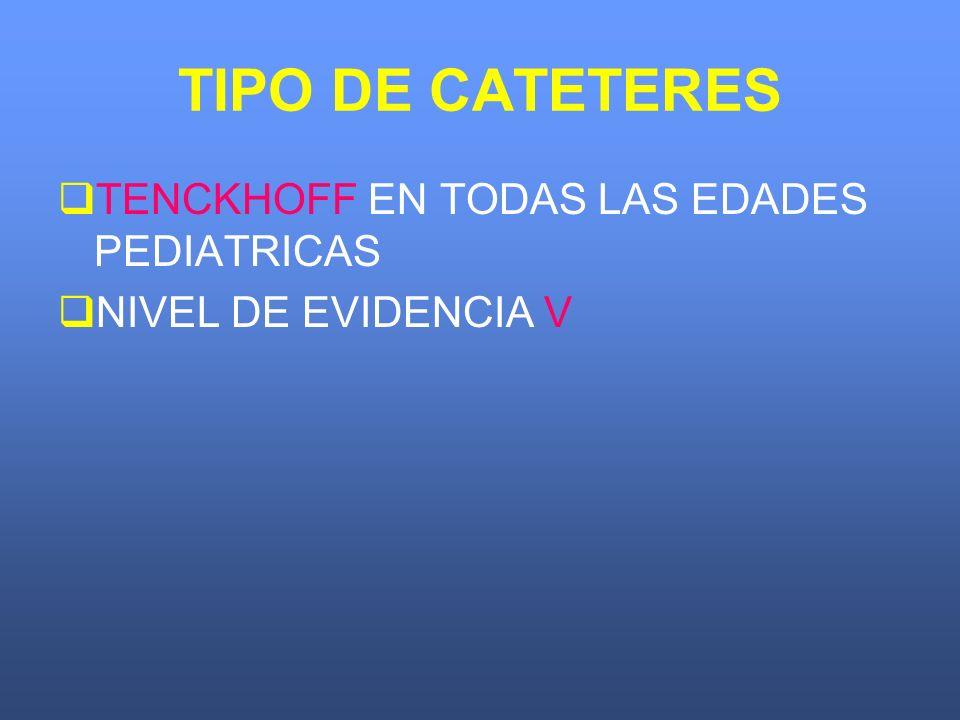 TIPO DE CATETERES TENCKHOFF EN TODAS LAS EDADES PEDIATRICAS NIVEL DE EVIDENCIA V