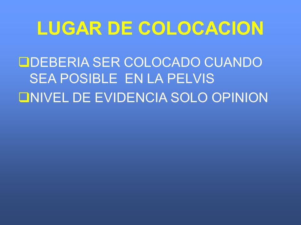 LUGAR DE COLOCACION DEBERIA SER COLOCADO CUANDO SEA POSIBLE EN LA PELVIS NIVEL DE EVIDENCIA SOLO OPINION