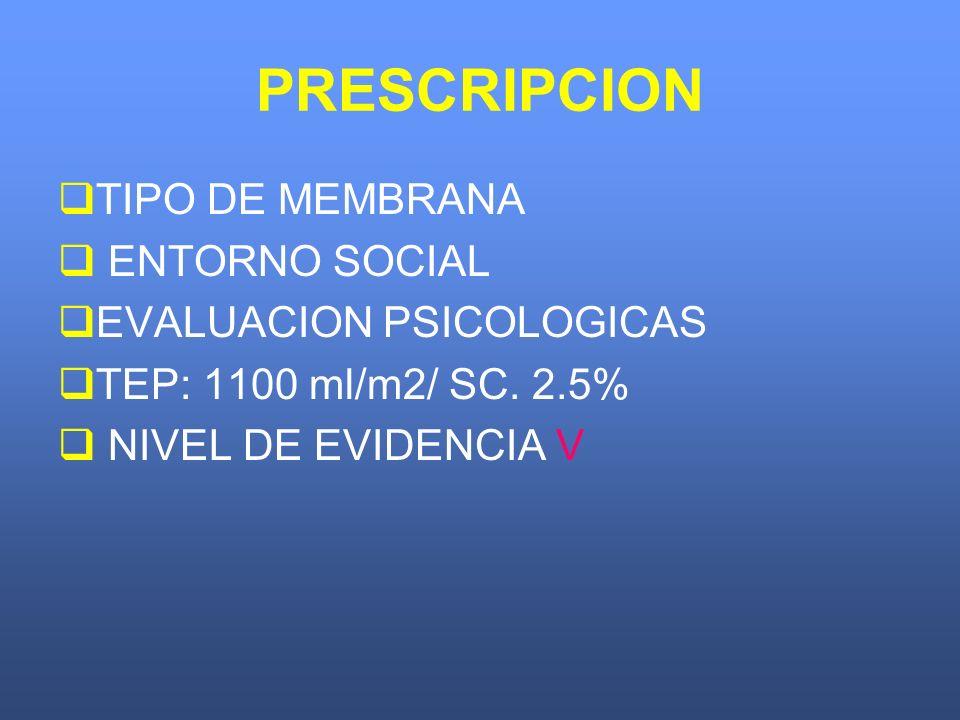 PRESCRIPCION TIPO DE MEMBRANA ENTORNO SOCIAL EVALUACION PSICOLOGICAS TEP: 1100 ml/m2/ SC. 2.5% NIVEL DE EVIDENCIA V