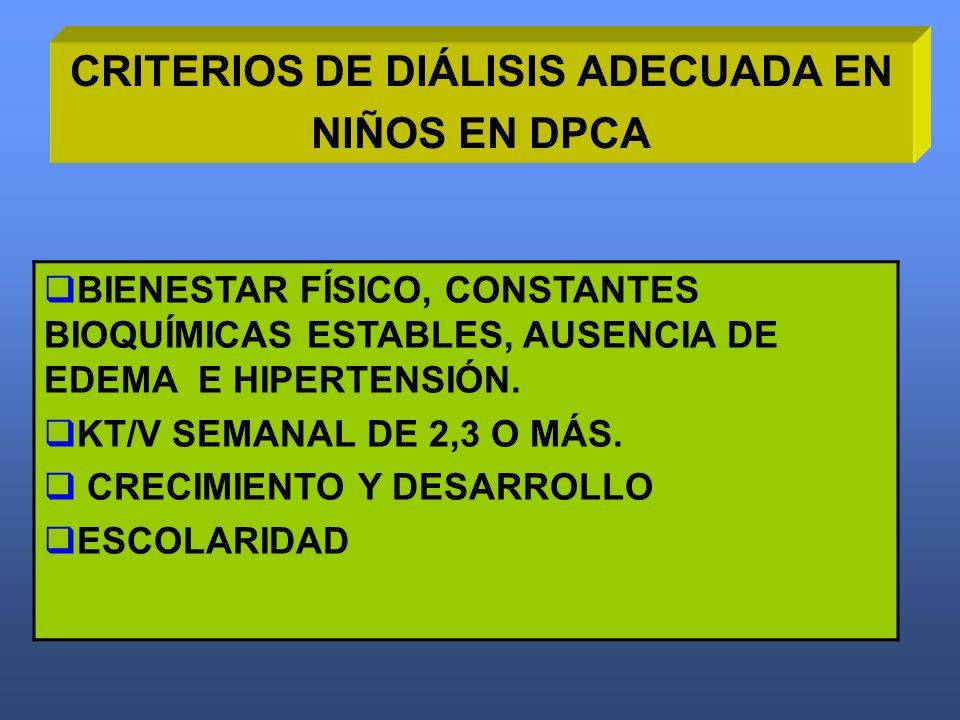 CRITERIOS DE DIÁLISIS ADECUADA EN NIÑOS EN DPCA BIENESTAR FÍSICO, CONSTANTES BIOQUÍMICAS ESTABLES, AUSENCIA DE EDEMA E HIPERTENSIÓN. KT/V SEMANAL DE 2