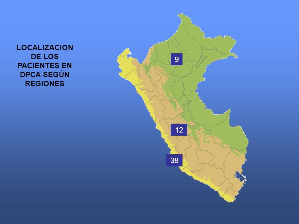 9 12 38 LOCALIZACION DE LOS PACIENTES EN DPCA SEGÚN REGIONES