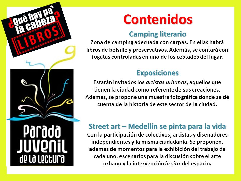 Contenidos Camping literario Zona de camping adecuada con carpas.