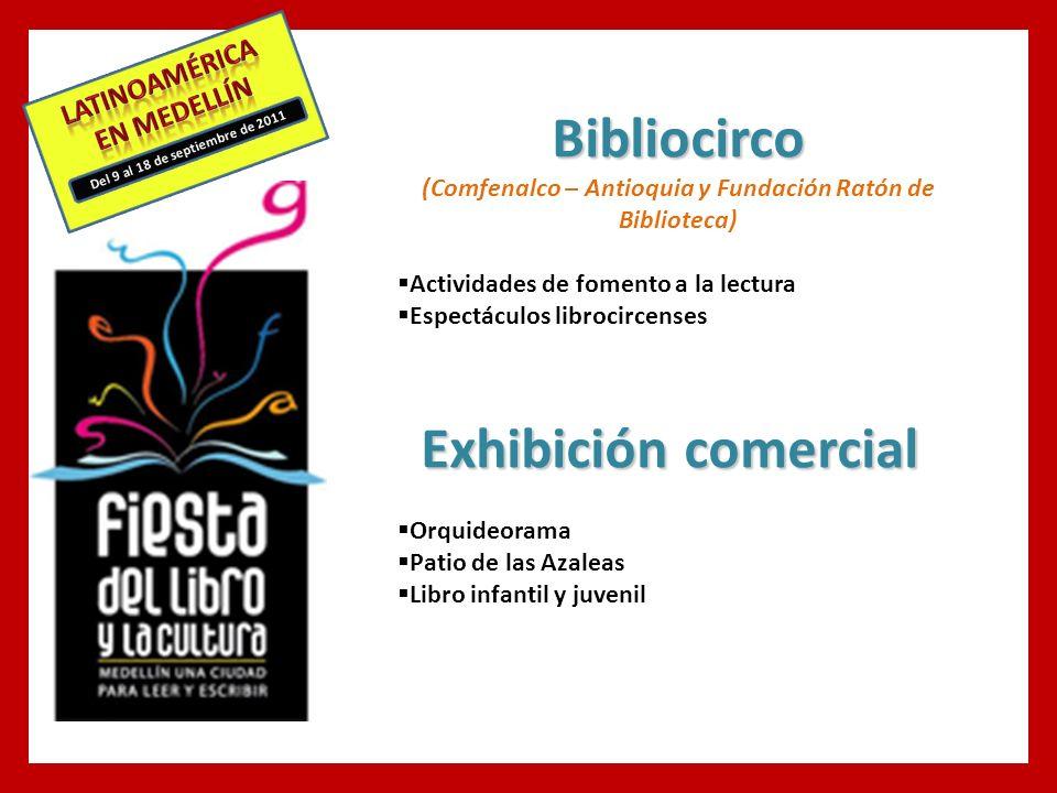Del 9 al 18 de septiembre de 2011 Bibliocirco (Comfenalco – Antioquia y Fundación Ratón de Biblioteca) Actividades de fomento a la lectura Espectáculos librocircenses Exhibición comercial Orquideorama Patio de las Azaleas Libro infantil y juvenil