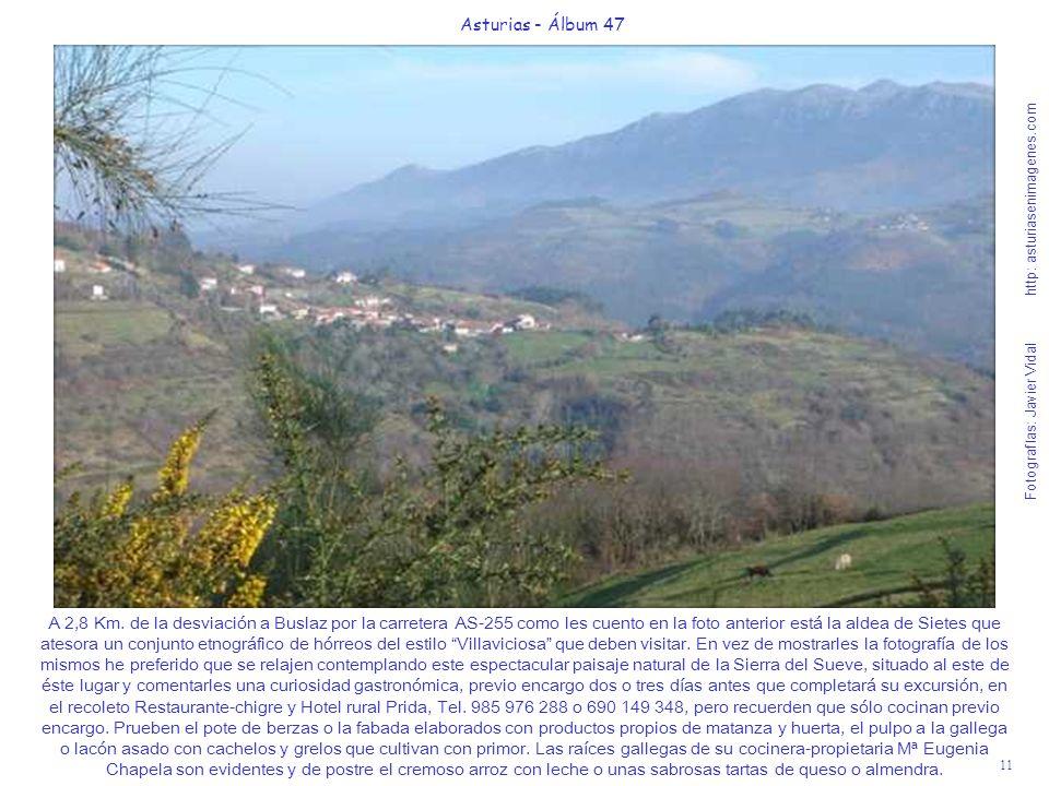 11 Asturias - Álbum 47 Fotografías: Javier Vidal http: asturiasenimagenes.com A 2,8 Km. de la desviación a Buslaz por la carretera AS-255 como les cue