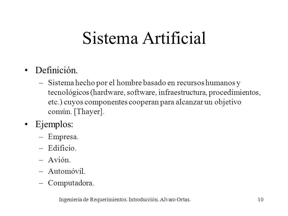 Ingeniería de Requerimientos. Introducción. Alvaro Ortas.10 Sistema Artificial Definición. –Sistema hecho por el hombre basado en recursos humanos y t