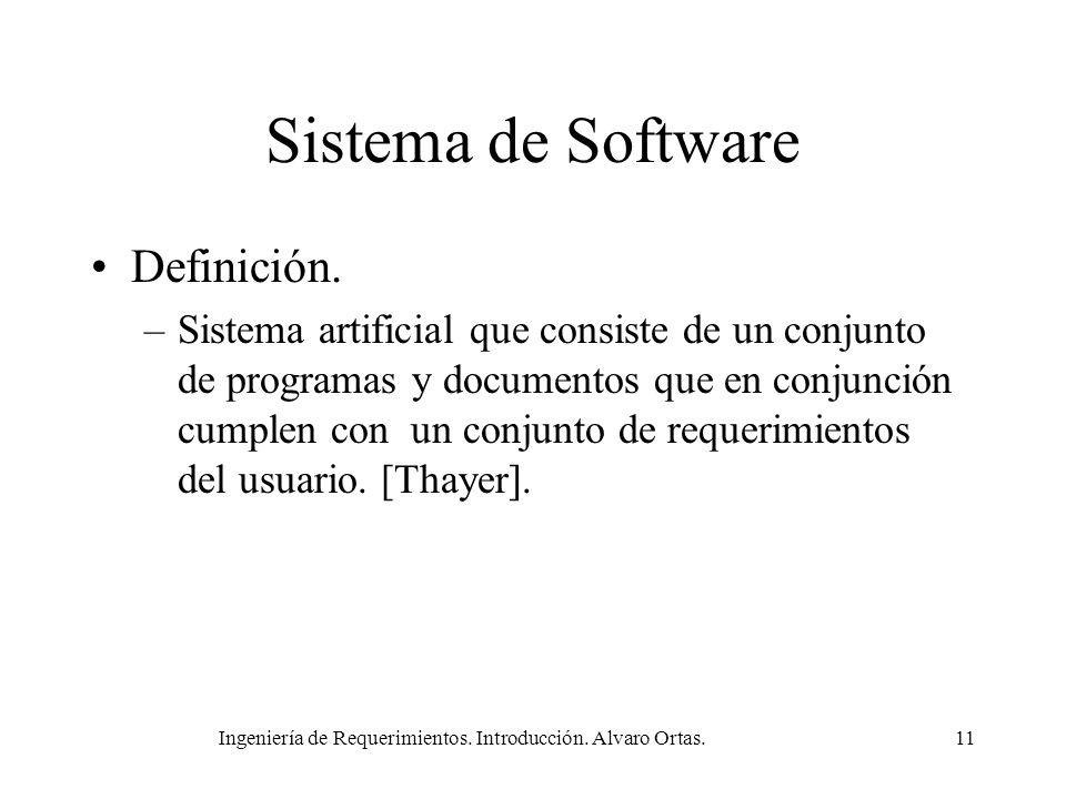 Ingeniería de Requerimientos. Introducción. Alvaro Ortas.11 Sistema de Software Definición. –Sistema artificial que consiste de un conjunto de program
