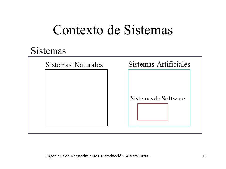 Ingeniería de Requerimientos. Introducción. Alvaro Ortas.12 Contexto de Sistemas Sistemas Sistemas Naturales Sistemas Artificiales Sistemas de Softwar