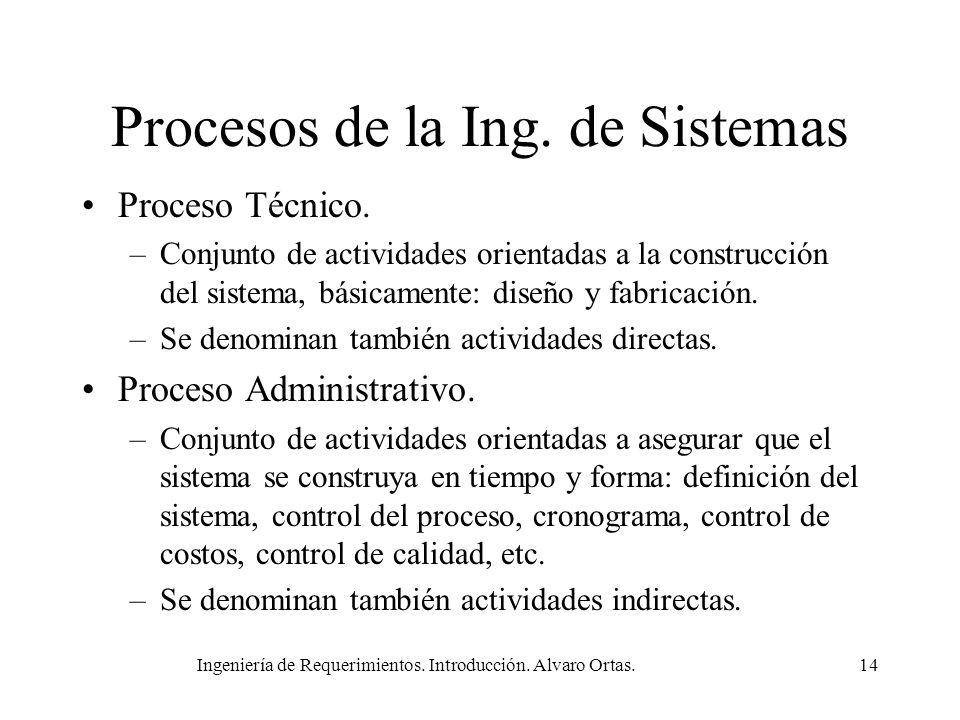 Ingeniería de Requerimientos. Introducción. Alvaro Ortas.14 Procesos de la Ing. de Sistemas Proceso Técnico. –Conjunto de actividades orientadas a la