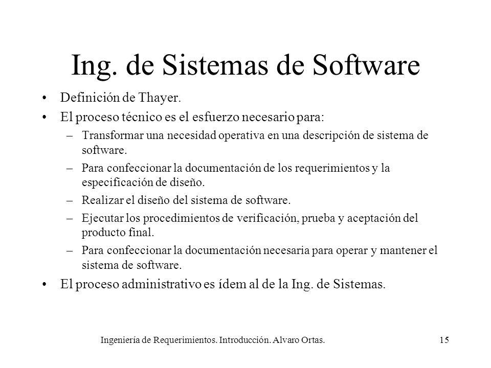 Ingeniería de Requerimientos. Introducción. Alvaro Ortas.15 Ing. de Sistemas de Software Definición de Thayer. El proceso técnico es el esfuerzo neces