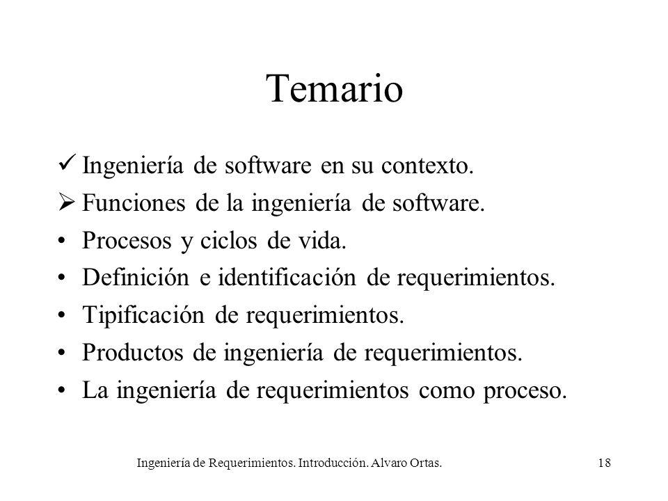Ingeniería de Requerimientos. Introducción. Alvaro Ortas.18 Temario Ingeniería de software en su contexto. Funciones de la ingeniería de software. Pro